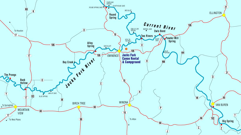 Canoe Missouri Jacks Fork River Float Camp Fishing Vacation In - Missouri river on us map